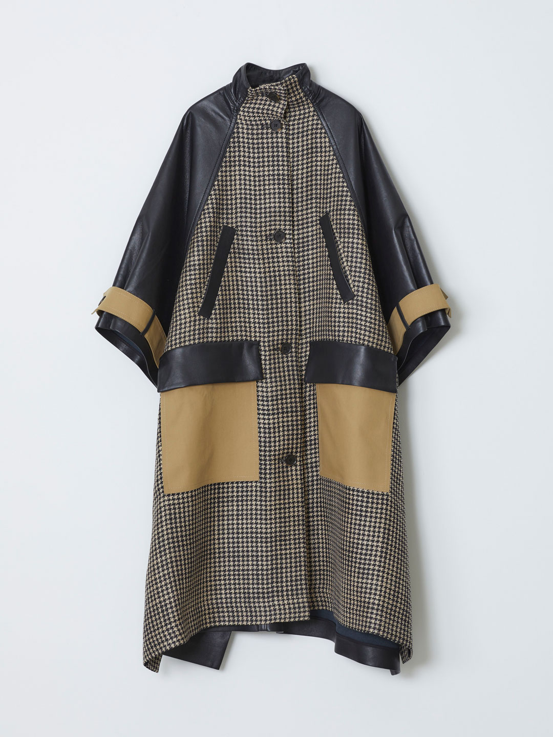 Nyree Recycled Leather Houndtooth Checked Coat - Multi