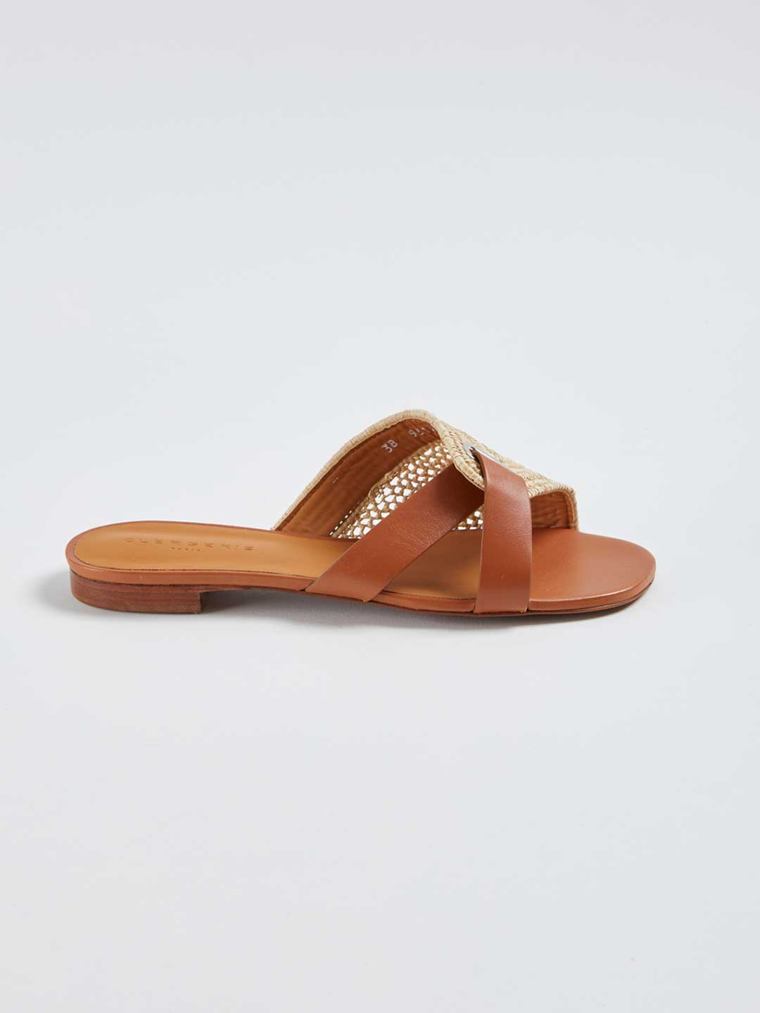 IDA Leather Combi Flat Raffia Sandals - Natural