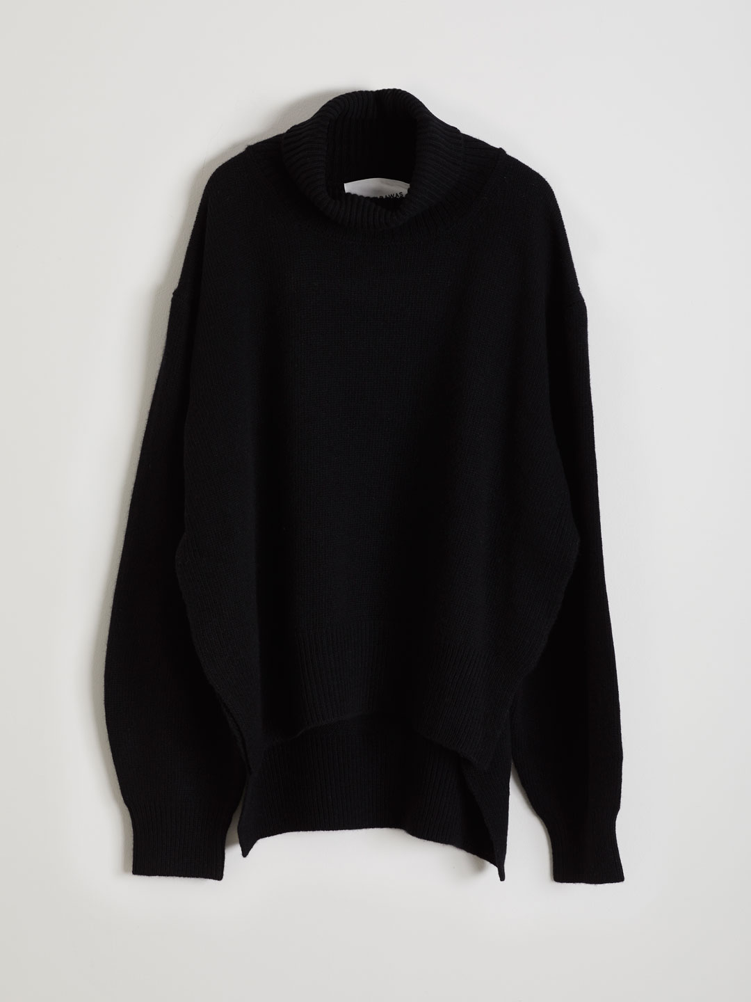 Ultra Fine Wool Hi Neck Knit  - Black