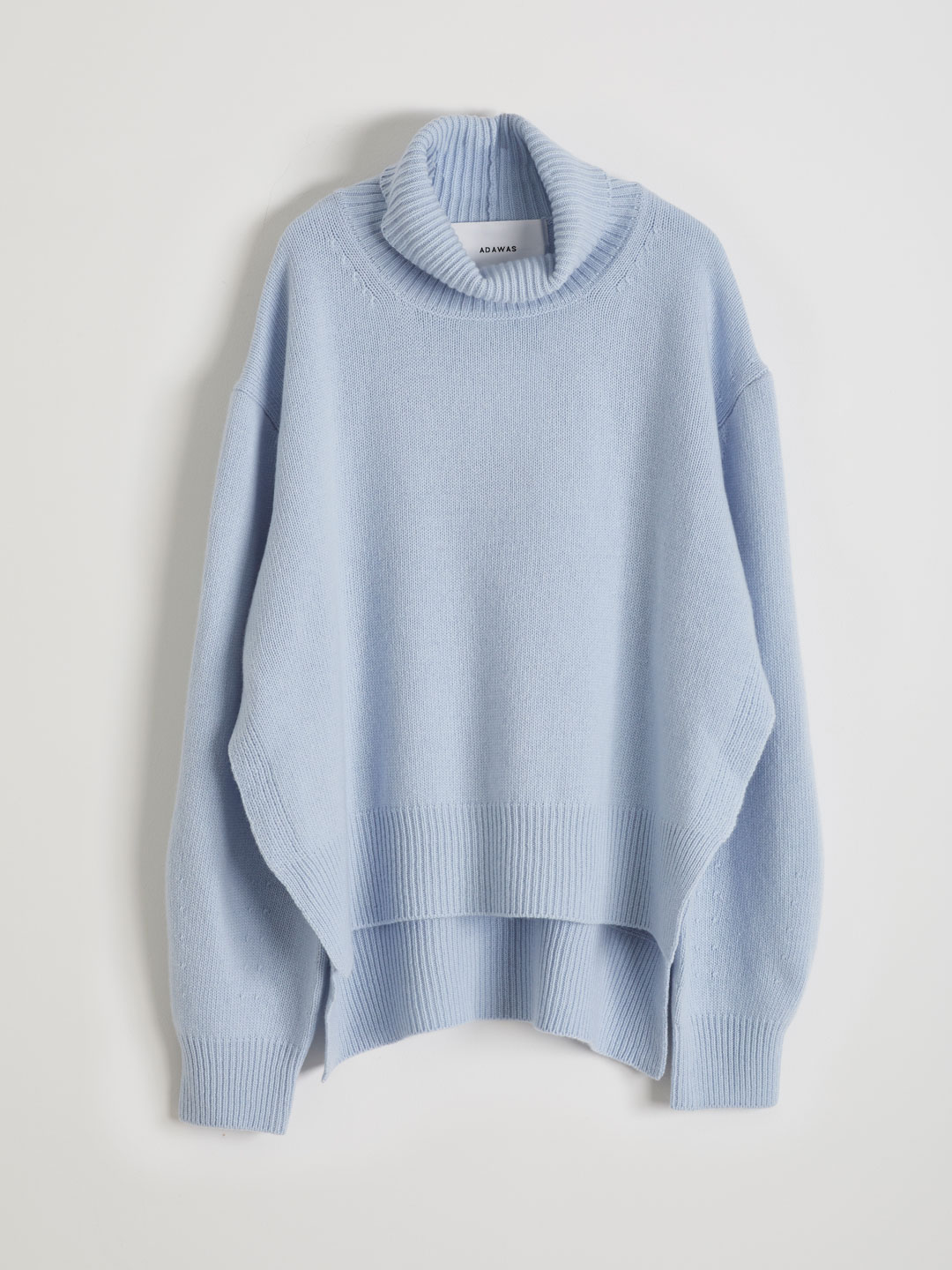 Ultra Fine Wool Hi Neck Knit  - Blue