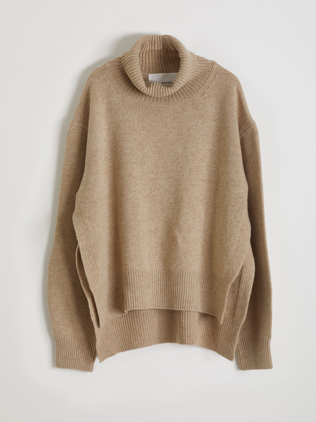 Ultra Fine Wool Hi Neck Knit  - Brown