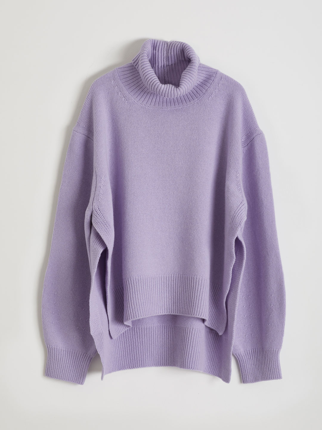 Ultra Fine Wool Hi Neck Knit  - Purple
