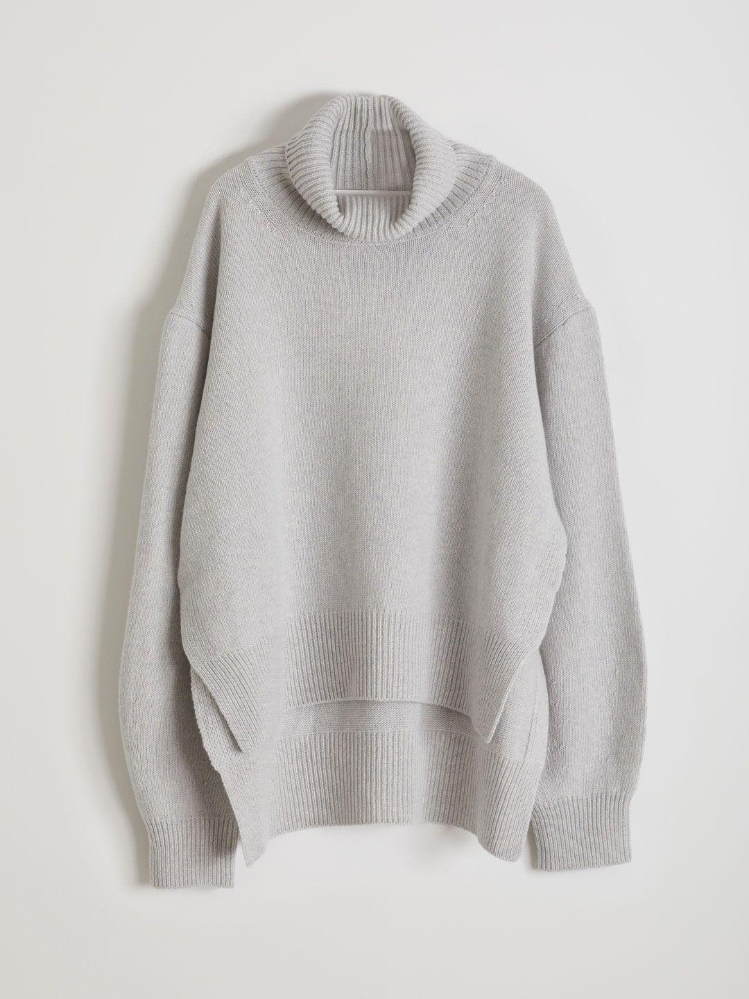 Ultra Fine Wool Hi Neck Knit  - Grey