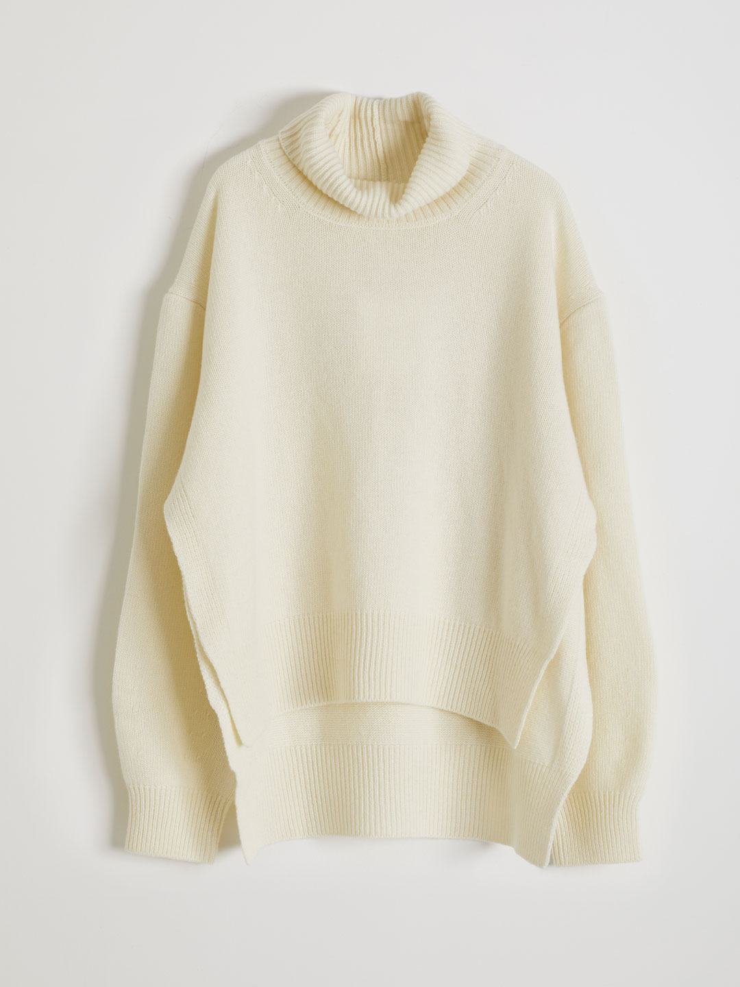 Ultra Fine Wool Hi Neck Knit  - White