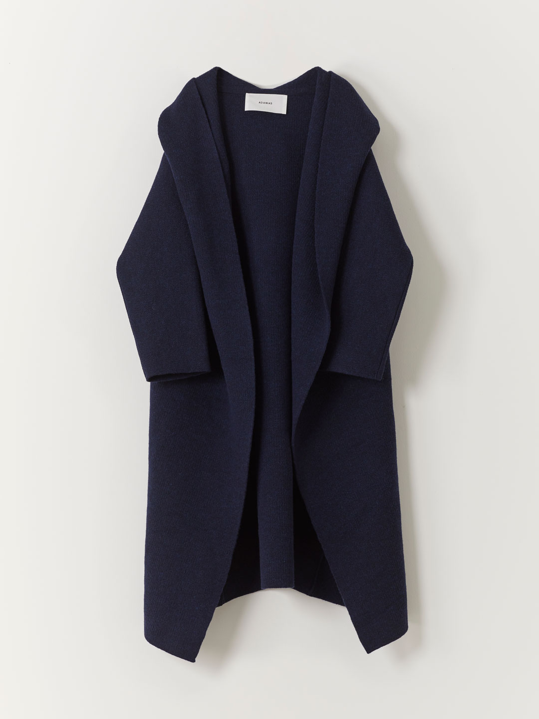 Airy Spongish Hooded Cardigan  - Navy