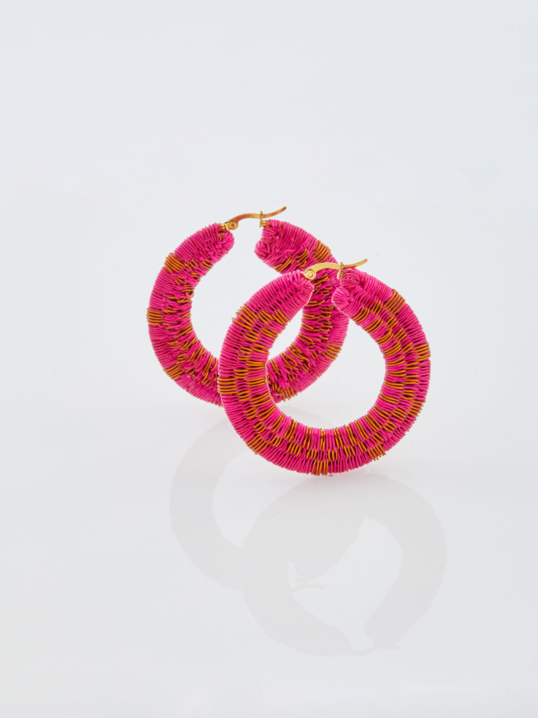 Isabel Copper Hoops - Pink