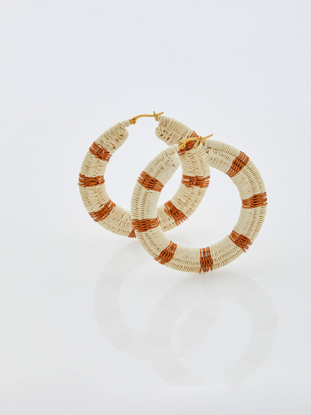 Isabel Copper Hoops - White