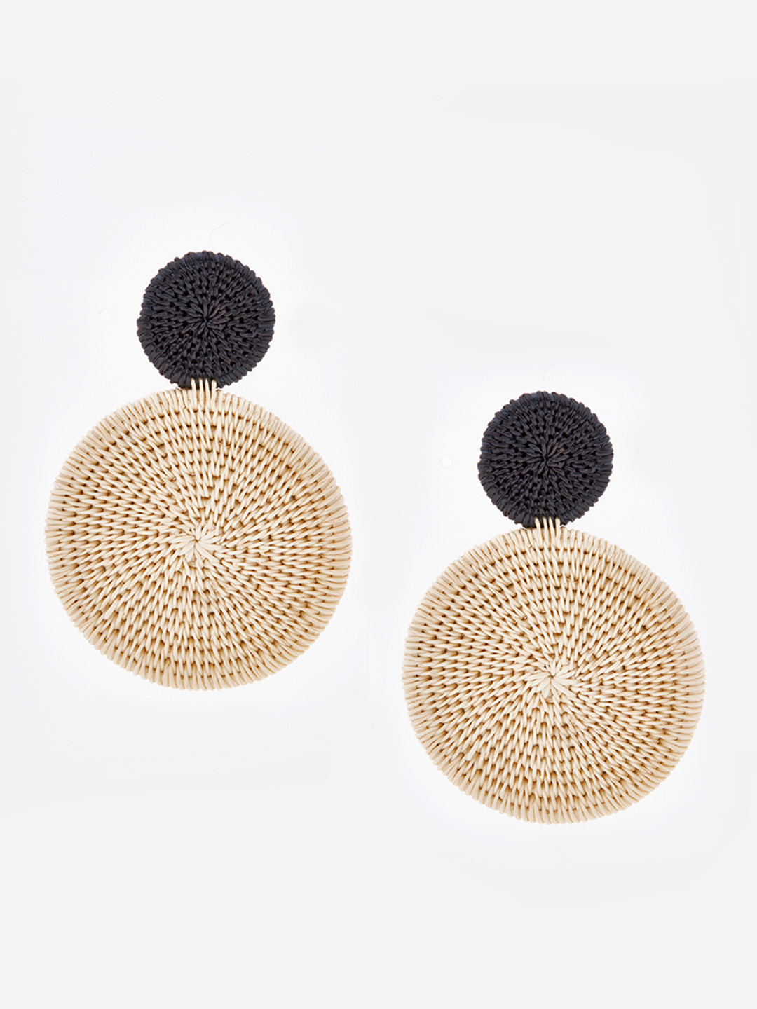 Luciana Black & White Pierced Earrings - Black