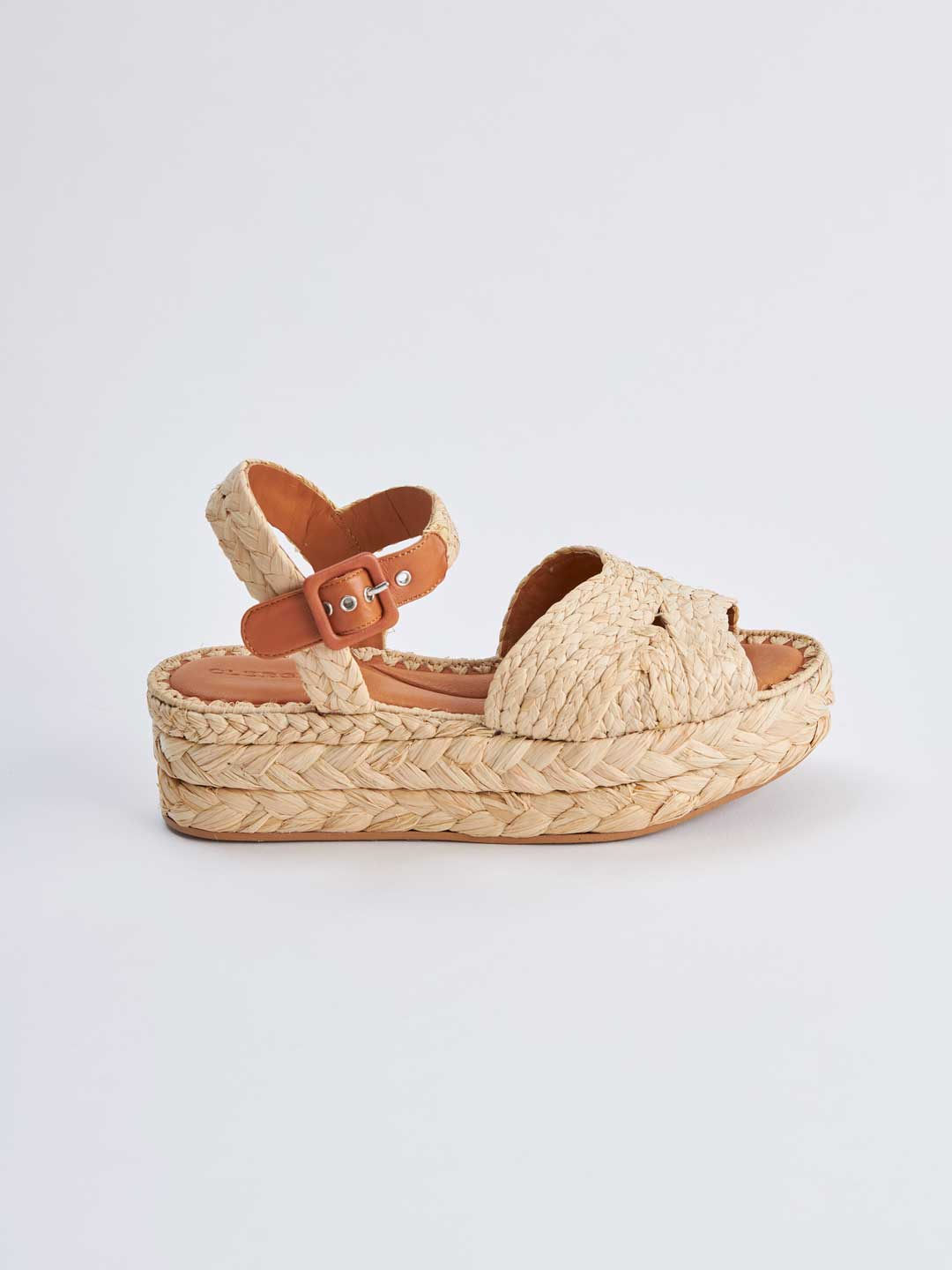 AIDA Ankle Strap Raffia Sandals - Natural