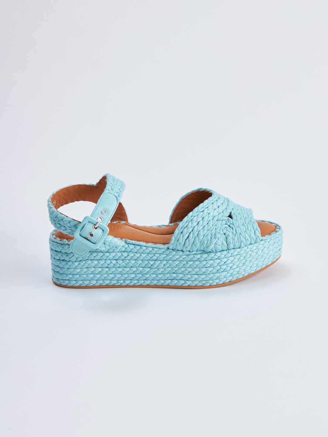 ALDA Ankle Strap Cotton Sandals - Light Blue