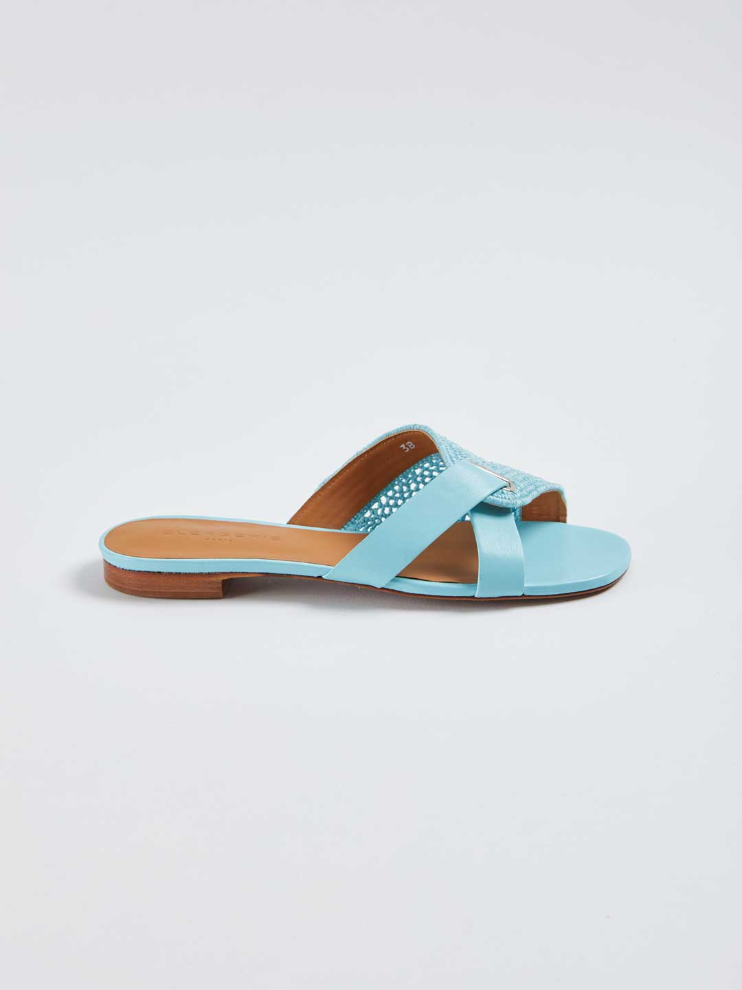 IOTA Leather Combi Flat Cotton Sandals - Light Blue