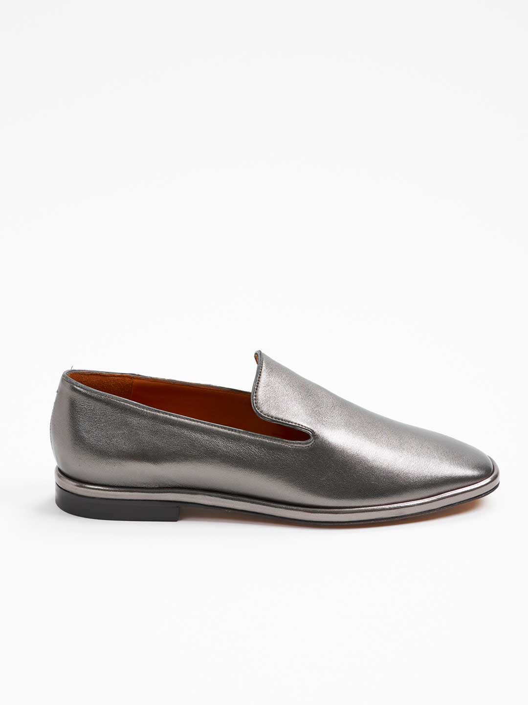 OLYMPIA Metallic Leather Slip-on Shoes - Grey