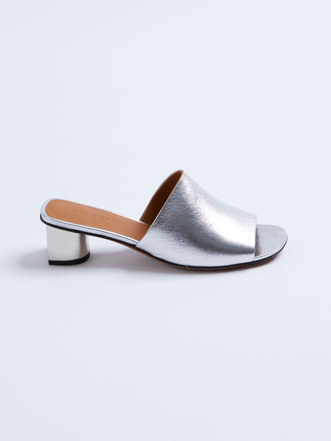 LEO5 Middle Heel Metalic Mules - Silver