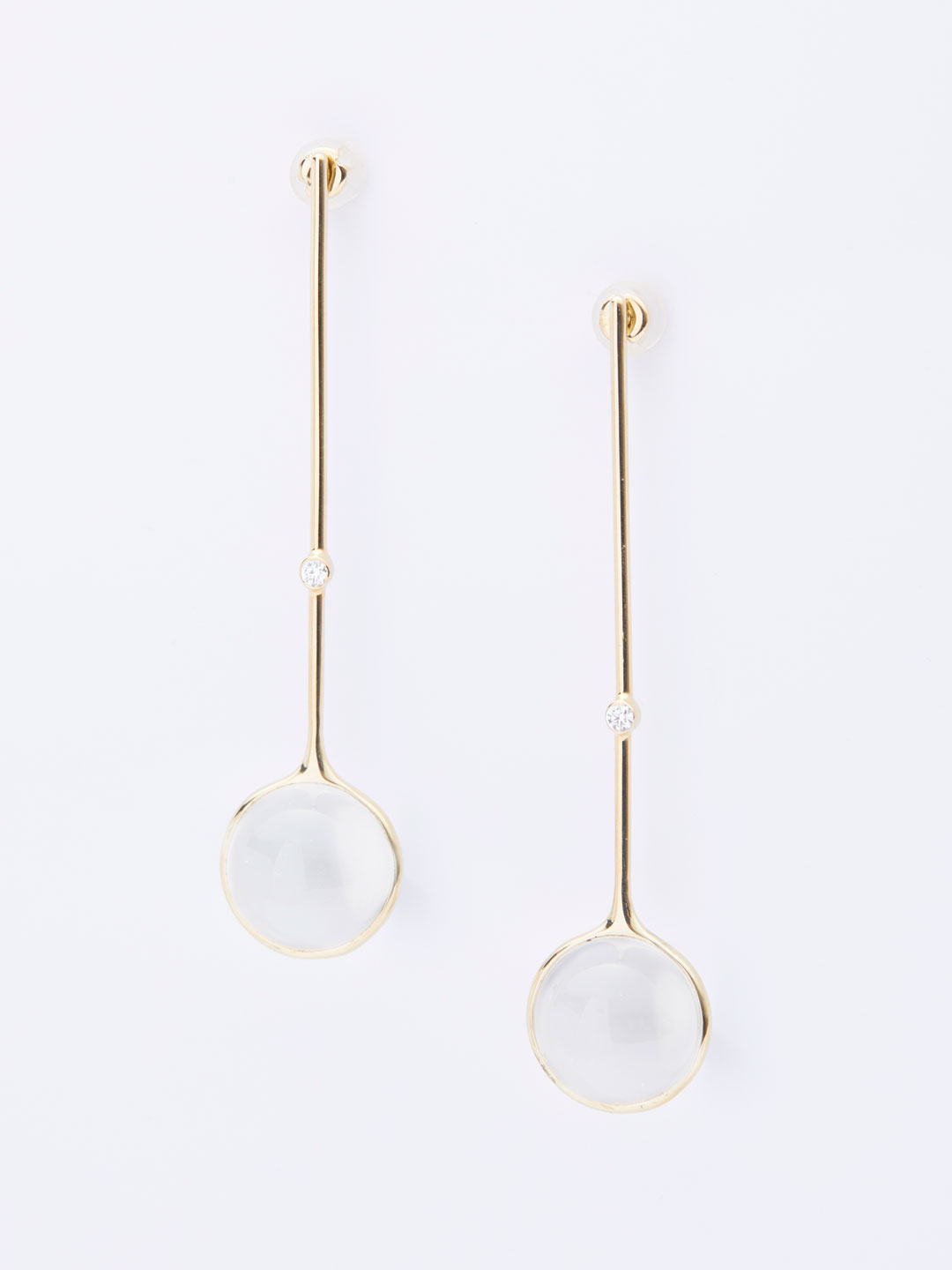 Diamond 46 Drops Pierced Earrings - Yellow Gold