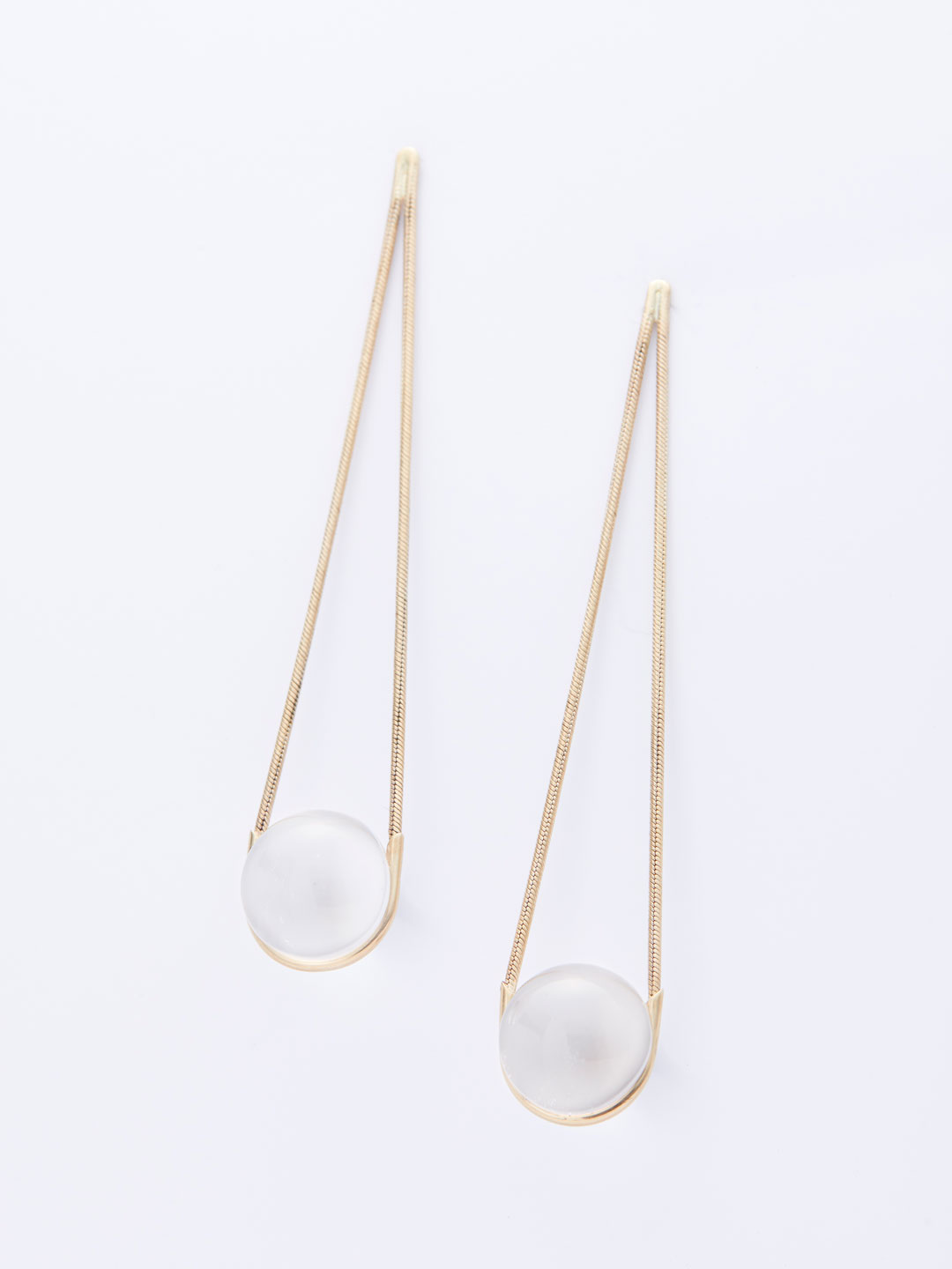 Lunar Drops Pierced Earrings - Yellow Gold