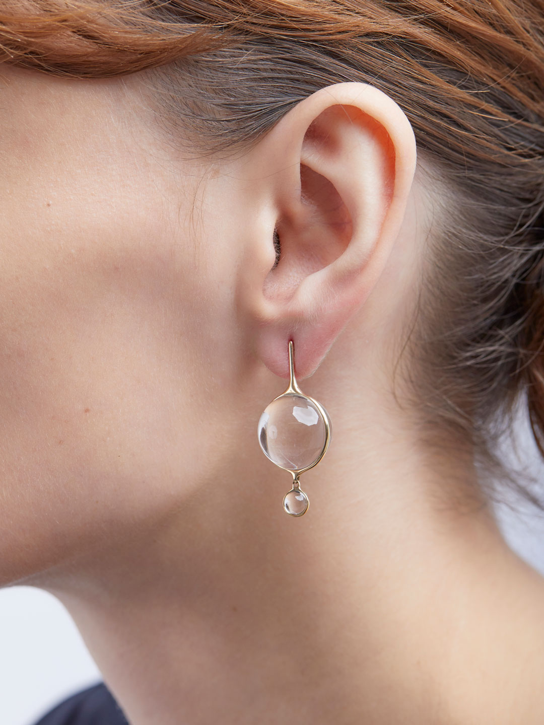 Lucent Drops Pierced Earrings - Yellow Gold