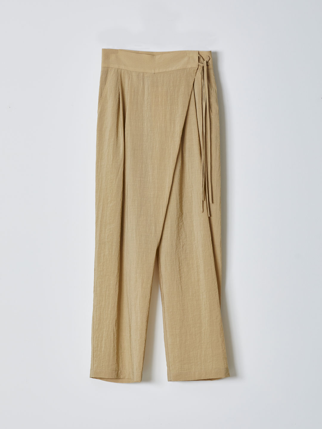 Side String Wrap Pants - Beige