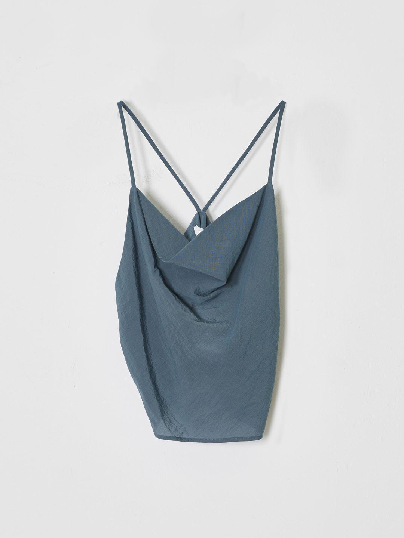 Cowl Neck Sleeveless Blouse - Blue