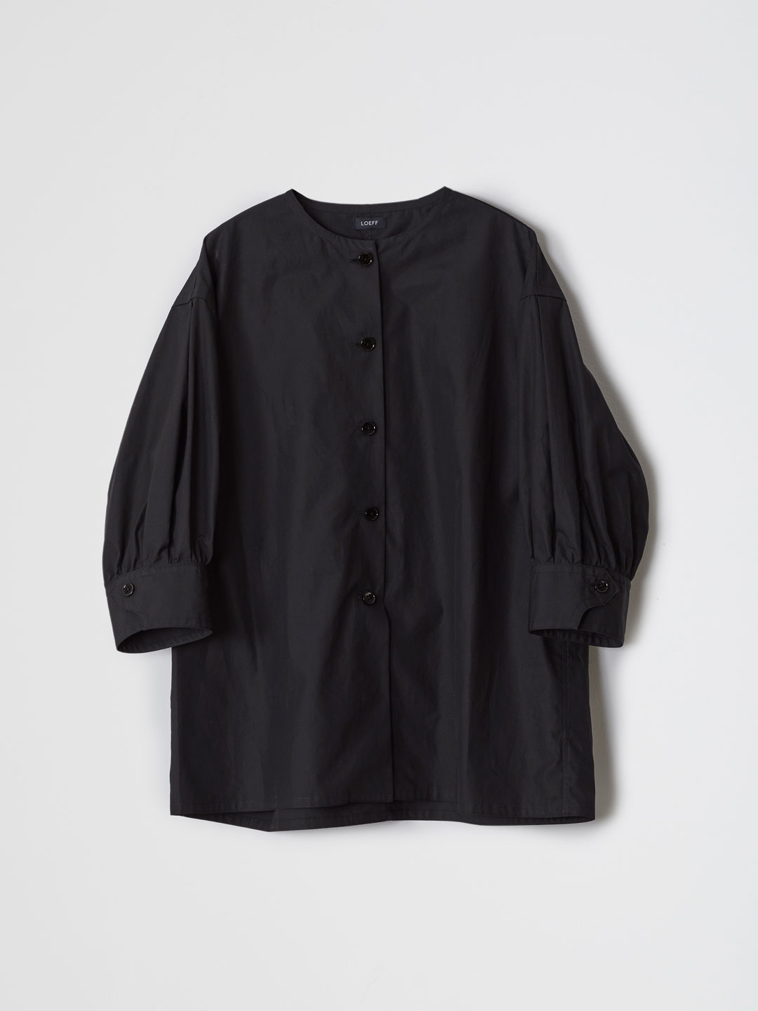 Cotton Weather Puff Sleeve  Shirt - Black