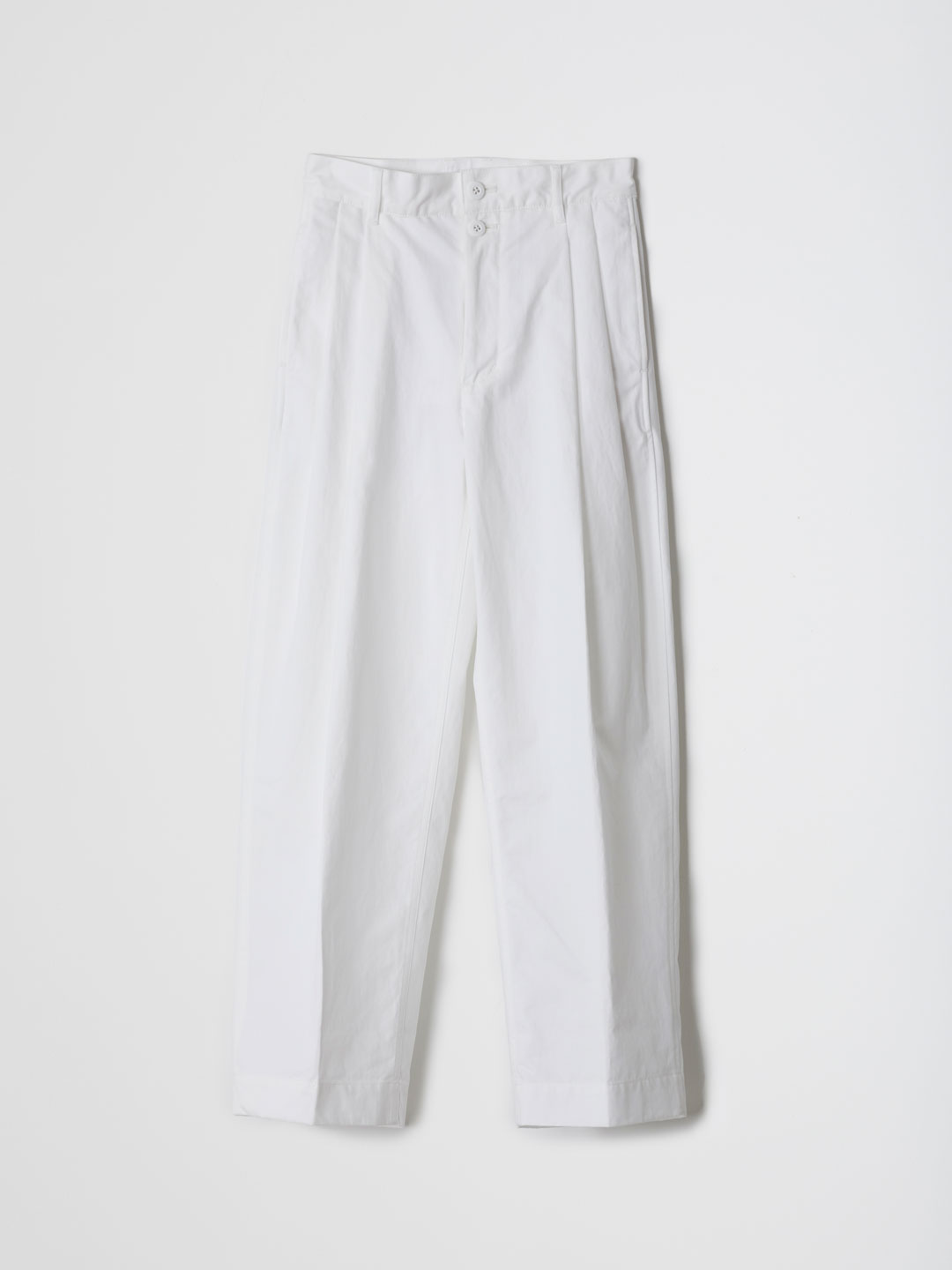 Cotton Twill 2 Tuck Pants - White