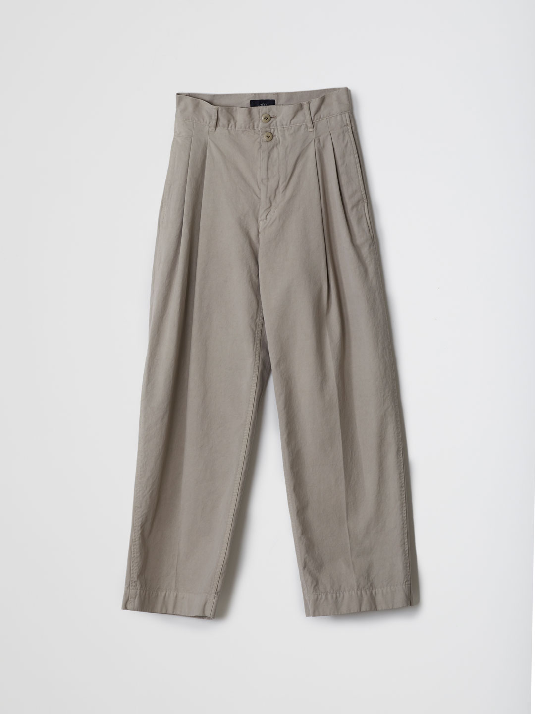 Cotton Twill 2 Tuck Pants - Beige