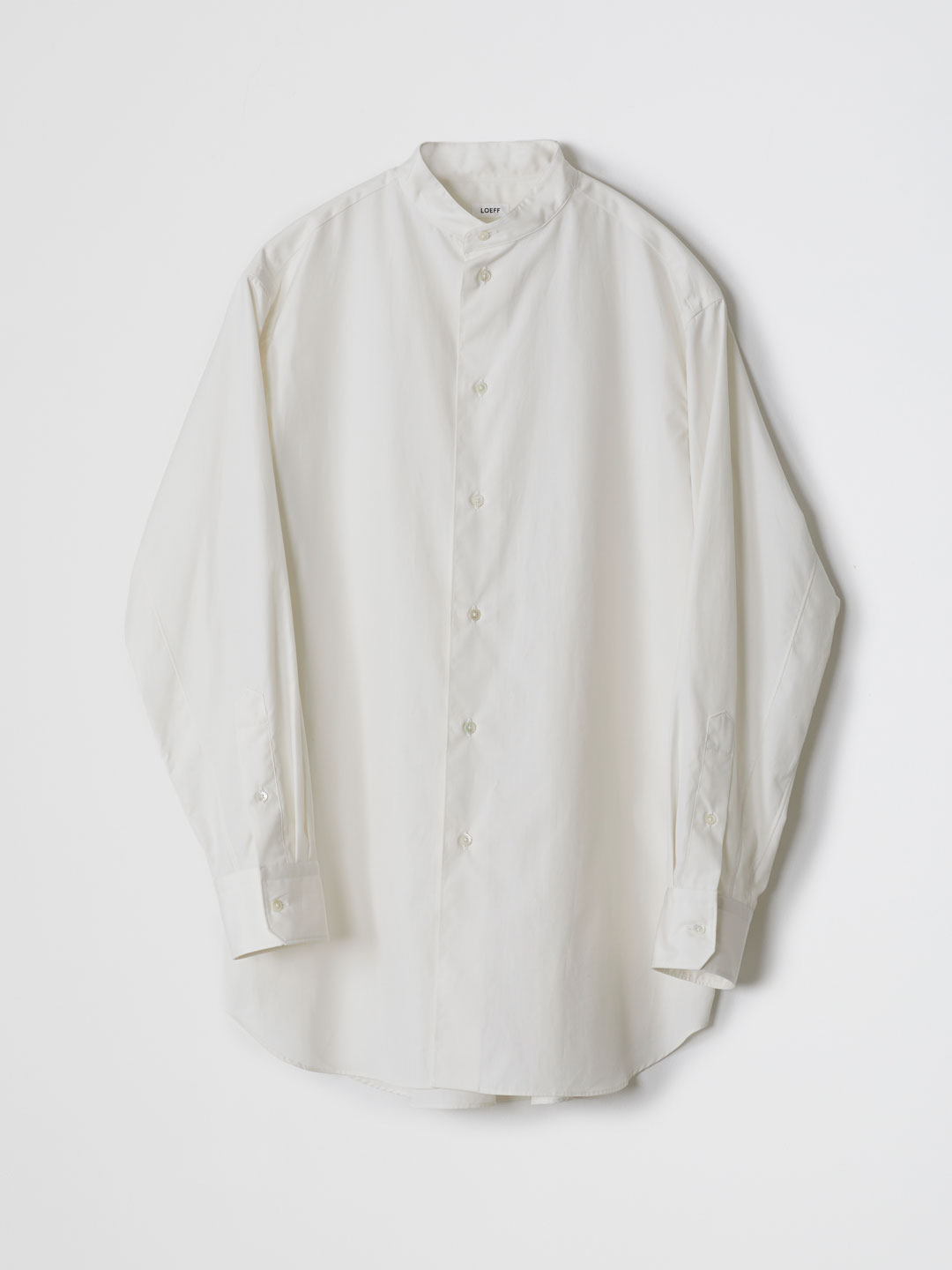 Cotton Broad Band Collar Shirt - Off White