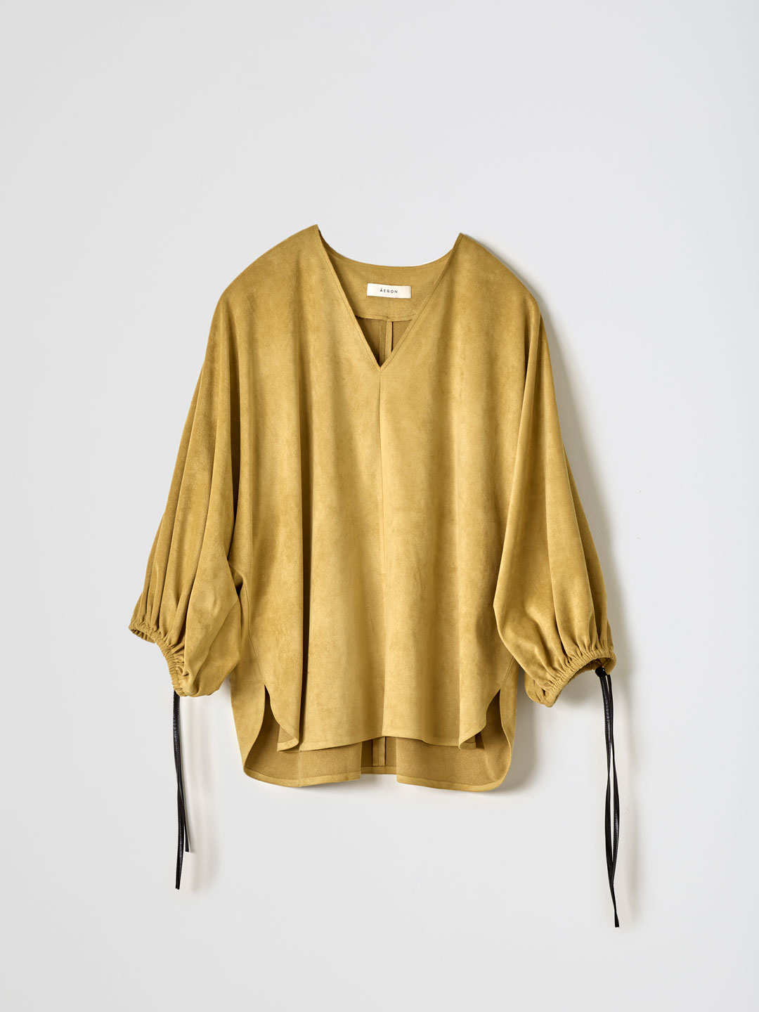 PAPAN / V Neck Tie Sleeve Blouse - Mustard