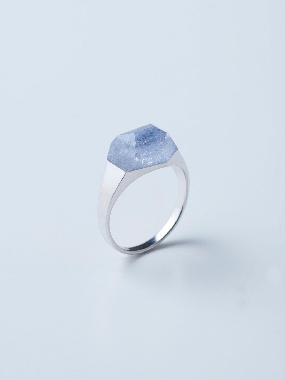 Rock Ring Mini No.2 / Dumortierite In Quartz – Silver