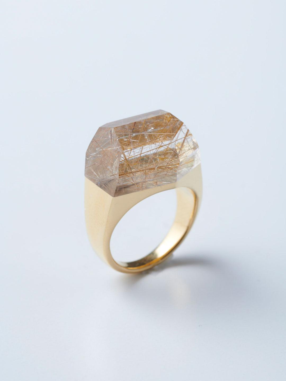 Rock Ring L No.4 / Rutile Quartz - Yellow Gold