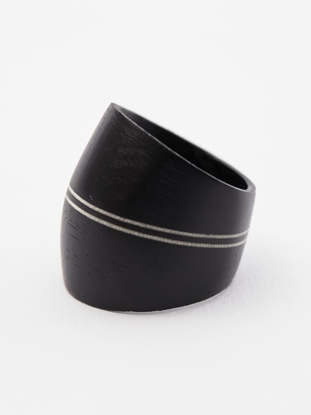 Dome Ring - 2 Line Black