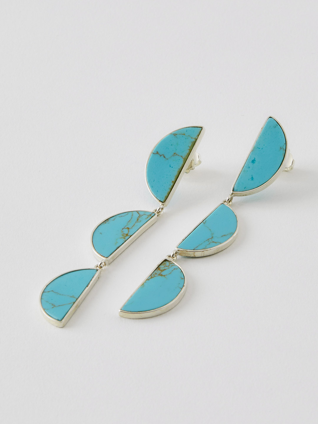 SUNRISE Plate Pierced Earring - Turquoise Paste