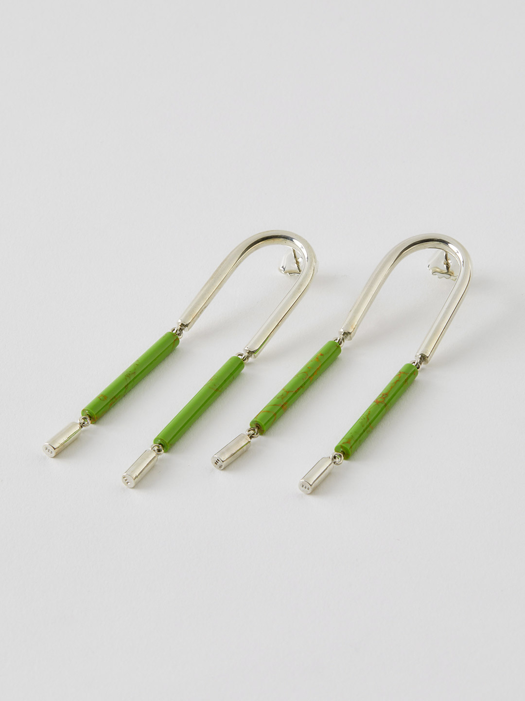 LEONORA Hanging Pierced Earring  - Lime Green Paste