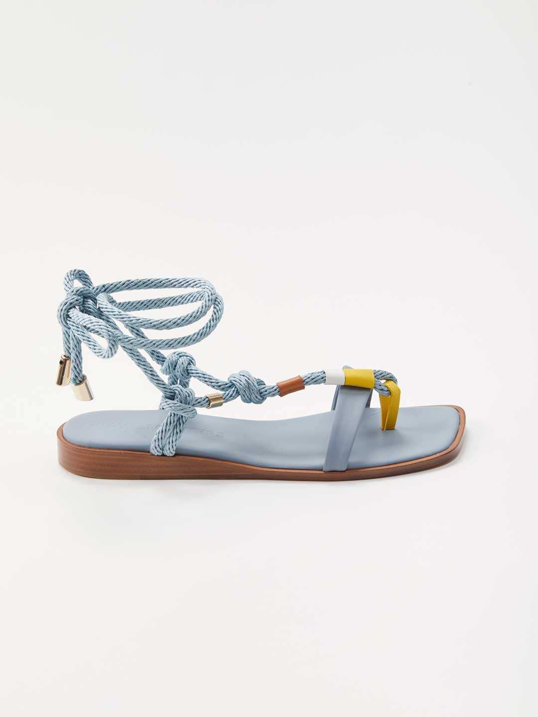 Lace Up Flat Sandals - Blue