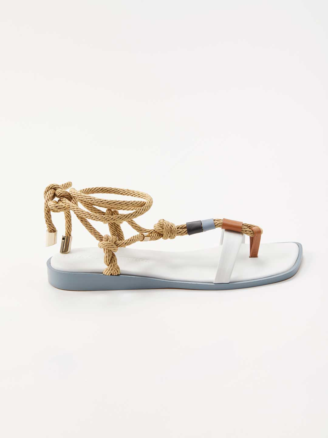 Lace Up Flat Sandals - White