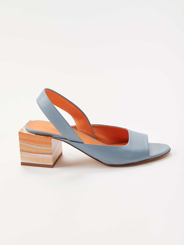 Cubic Heel Sling-back Mules - Blue