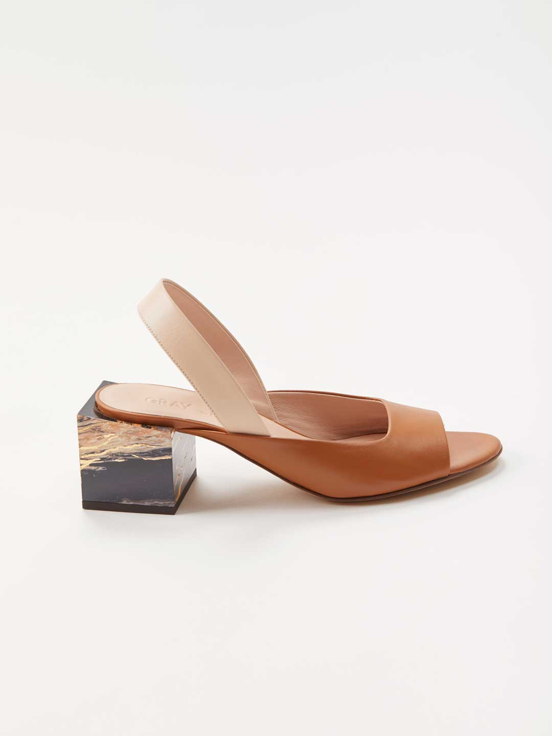 Cubic Heel Sling-back Mules - Brown