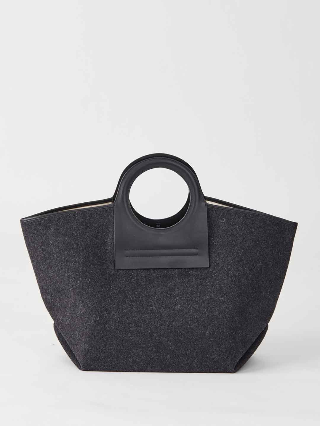 CALA Leather Canvas Tote - Charcoal Grey