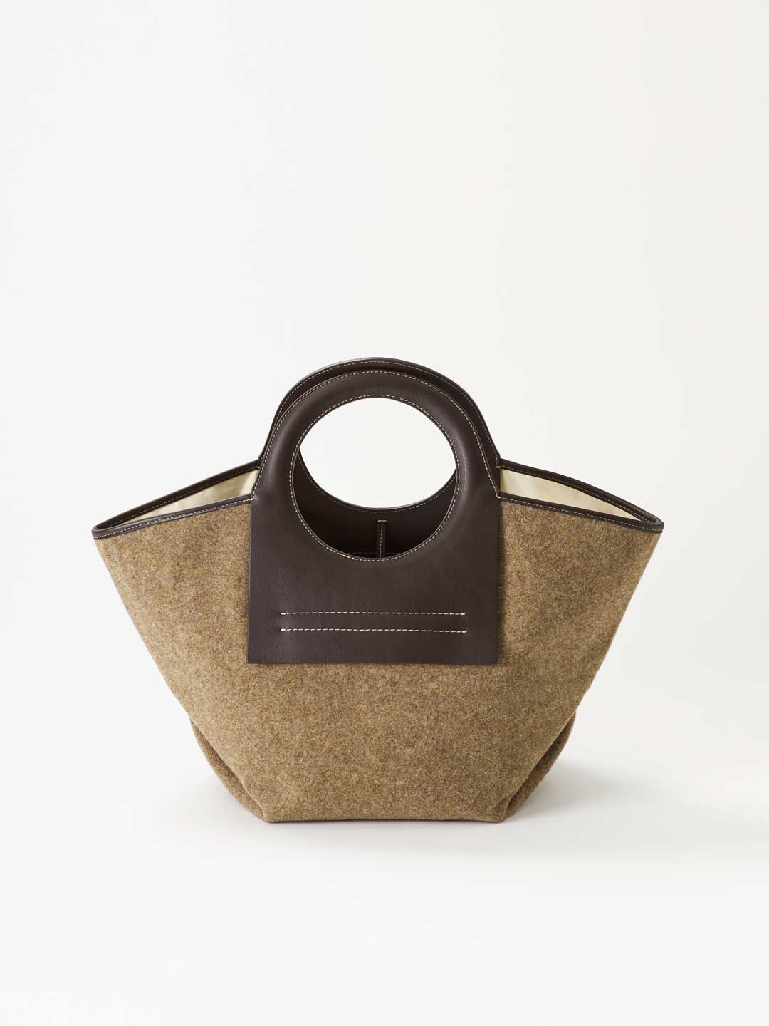 CALA SMALL Leather Canvas Tote - Brown