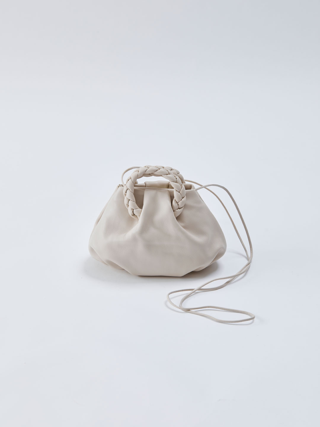 Bombon Small Plaited-handle Leather Crossbody - Off White