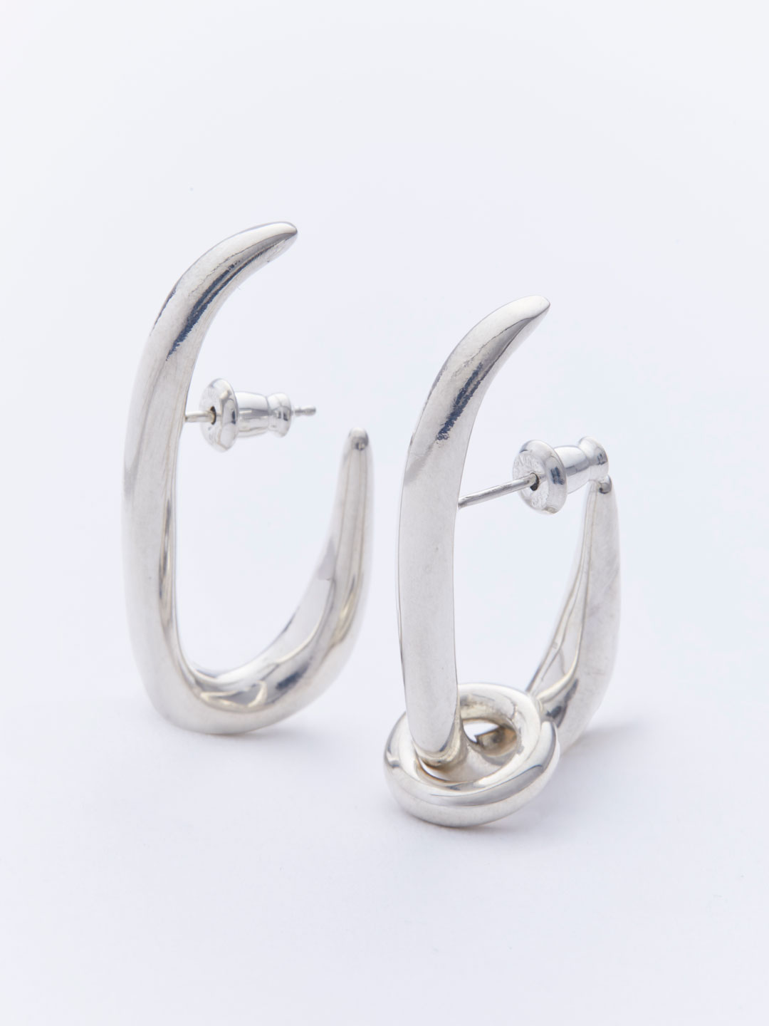 Oval Hoops Pierced Earrings - Silver