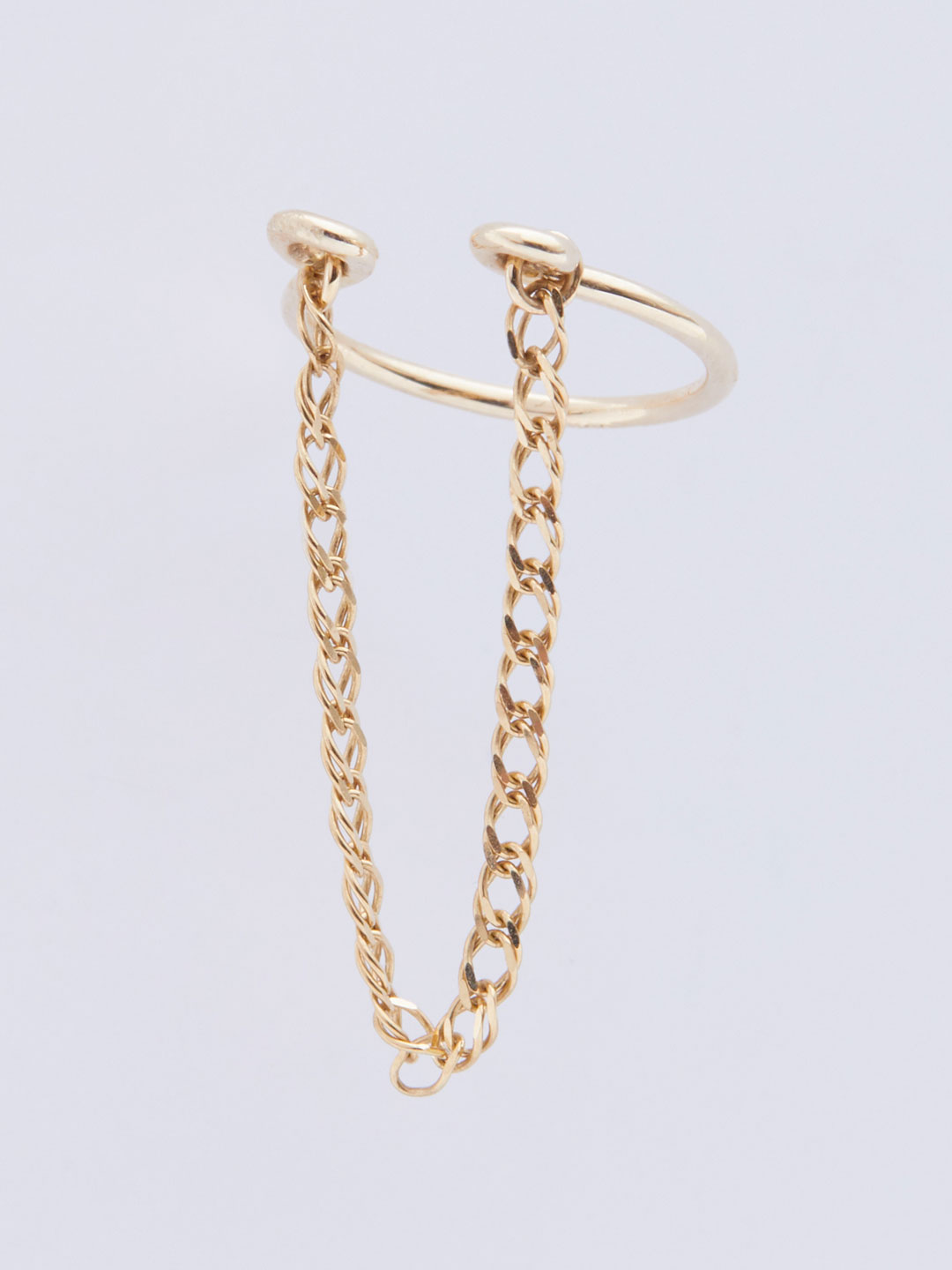 Long Chain Ear Cuff  - Yellow Gold