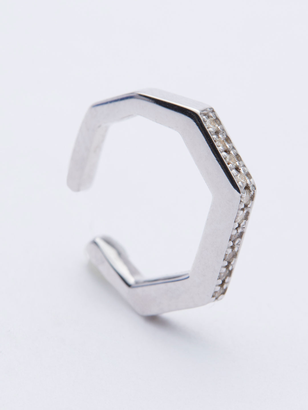 Octagon Diamond Ear Cuff S - White Gold