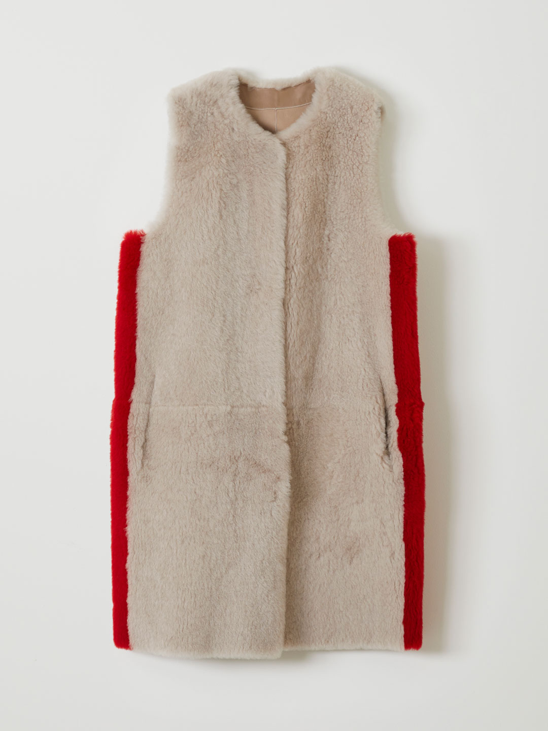 CASHMERE TOUCH LAMBSKIN STRIPED GILET - Beige