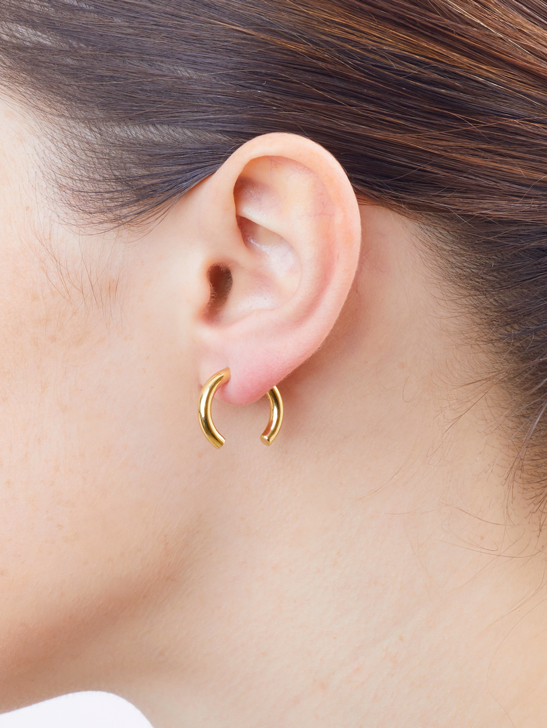 Broken 18 Pierced Earring - Gold High Polish