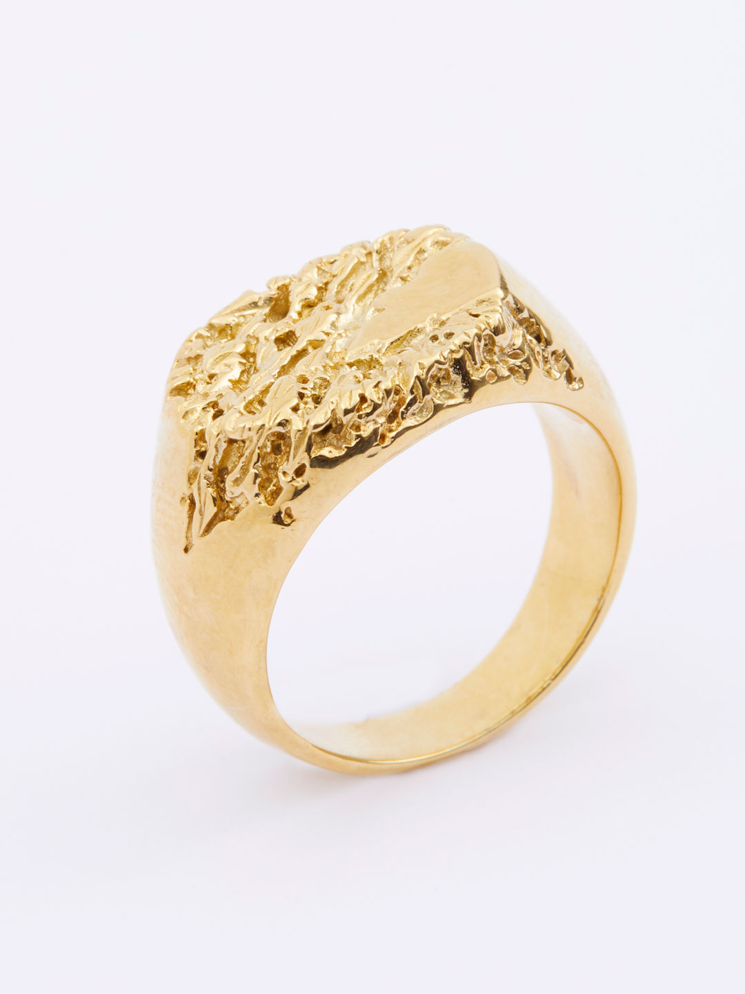 Rock Signet Ring  - Yellow Gold