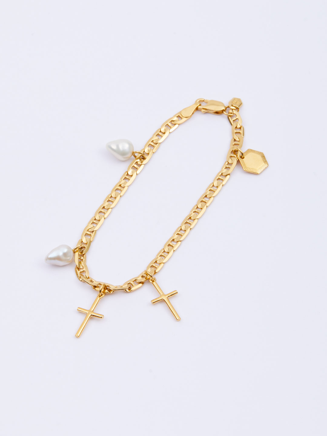 Cross Charm Bracelet Small  - Yellow Gold