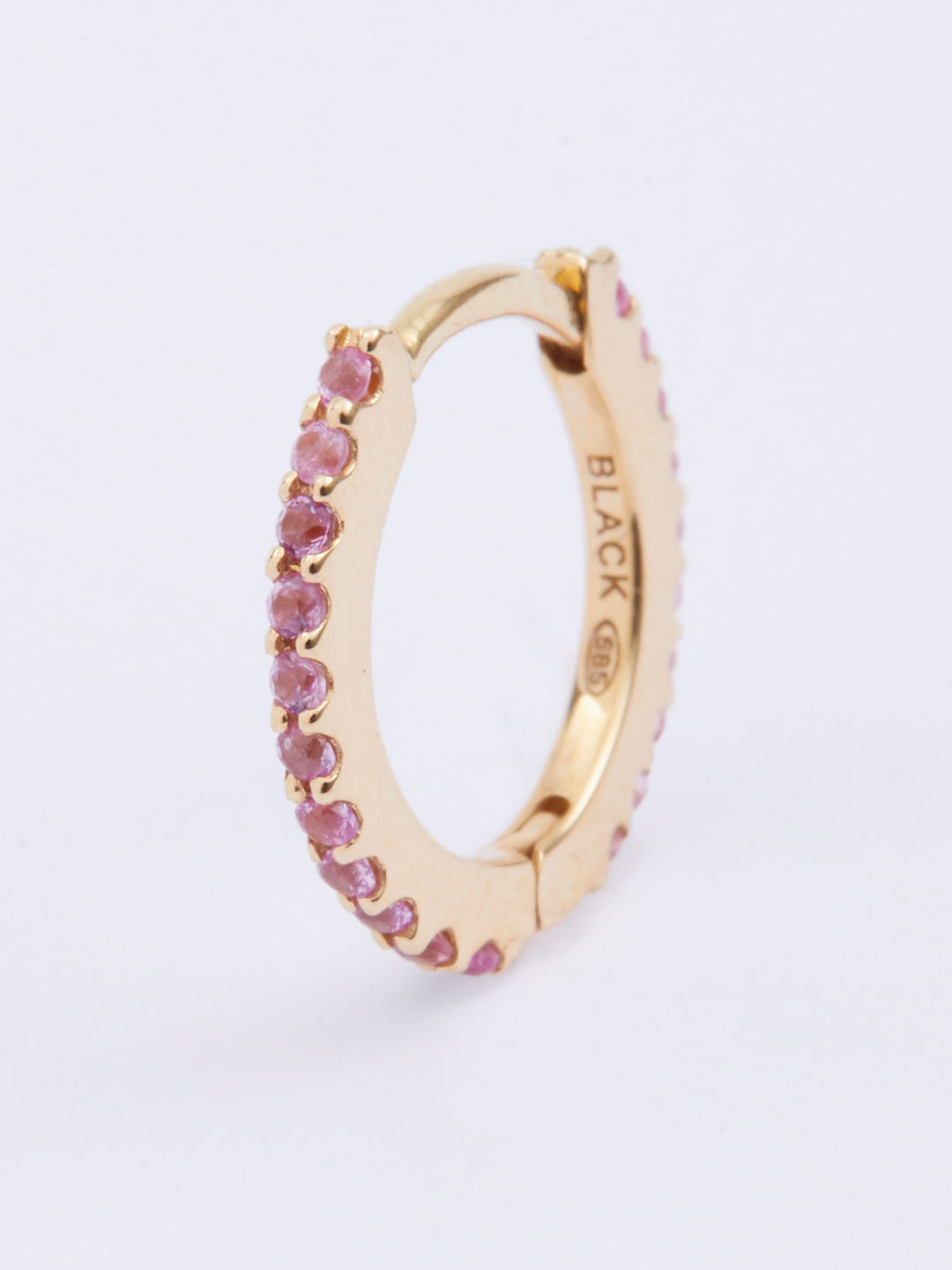 Rainbow Huggie Pierced Earring Pink - Yellow Gold