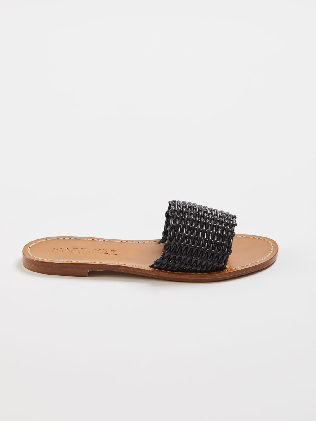 PLAYA CESTA Woven Flat Sandals - Black