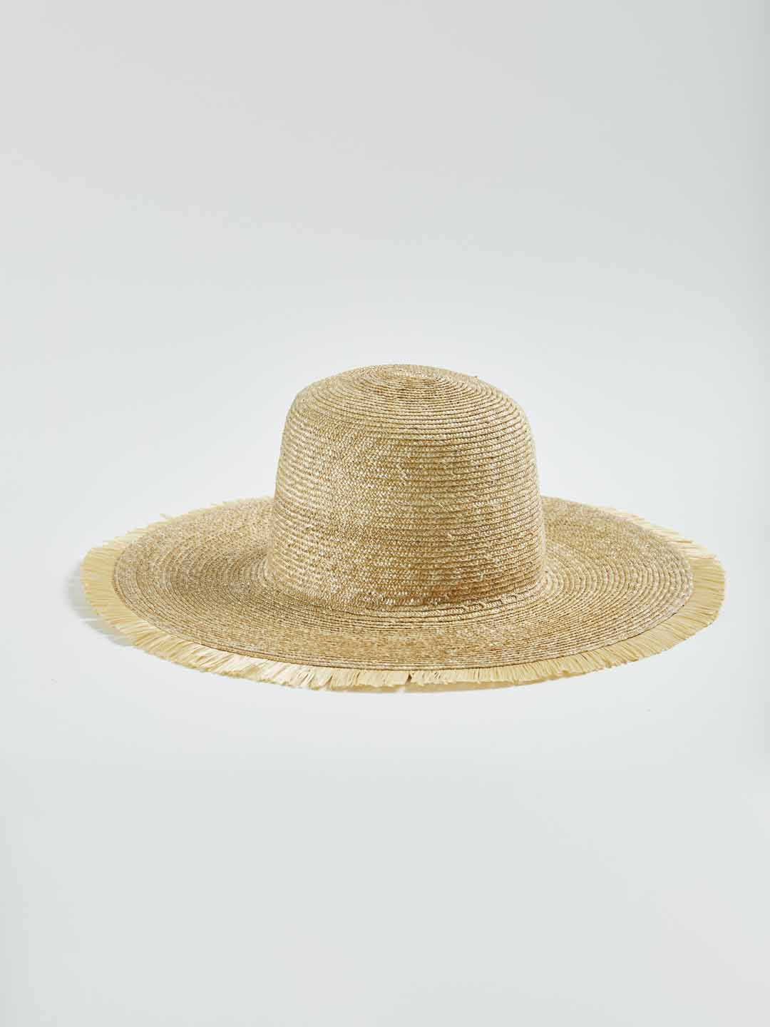 BRIT RIXA Short Fringe Capeline Hat - Natural