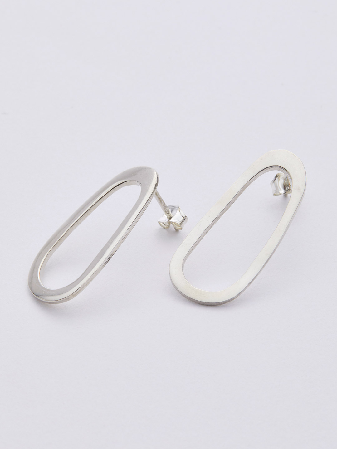 Oblong Oval Studs Pierced Earring - Silver
